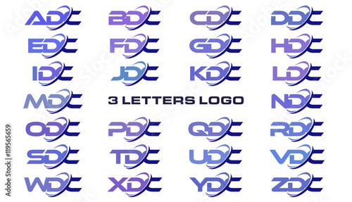 3 letters modern generic swoosh logo ADC, BDC, CDC, DDC, EDC