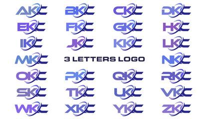 3 letters modern generic swoosh logo AKC, BKC, CKC, DKC, EKC, FKC, GKC, HKC, IKC, JKC, KKC, LKC, MKC, NKC, OKC, PKC, QKC, RKC, SKC, TKC, UKC, VKC, WKC, XKC, YKC, ZKC