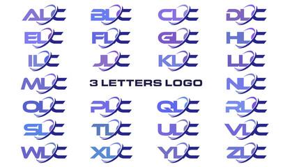 3 letters modern generic swoosh logo ALC, BLC, CLC, DLC, ELC, FLC, GLC, HLC, ILC, JLC, KLC, LLC, MLC, NLC, OLC, PLC, QLC, RLC, SLC, TLC, ULC, VLC, WLC, XLC, YLC, ZLC