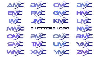 3 letters modern generic swoosh logo AMC, BMC, CMC, DMC, EMC, FMC, GMC, HMC, IMC, JMC, KMC, LMC, MMC, NMC, OMC, PMC, QMC, RMC, SMC, TMC, UMC, VMC, WMC, XMC, YMC, ZMC