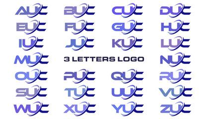 3 letters modern generic swoosh logo AUC, BUC, CUC, DUC, EUC, FUC, GUC, HUC, IUC, JUC, KUC, LUC, MUC, NUC, OUC, PUC, QUC, RUC, SUC, TUC, UUC, VUC, WUC, XUC, YUC, ZUC