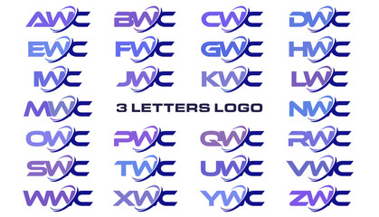 3 letters modern generic swoosh logo AWC, BWC, CWC, DWC, EWC, FWC, GWC, HWC, IWC, JWC, KWC, LWC, MWC, NWC, OWC, PWC, QWC, RWC, SWC, TWC, UWC, VWC, WWC, XWC, YWC, ZWC