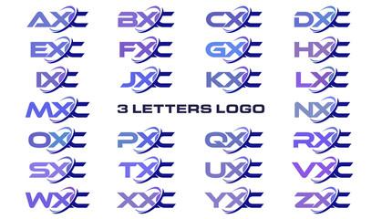 3 letters modern generic swoosh logo AXC, BXC, CXC, DXC, EXC, FXC, GXC, HXC, IXC, JXC, KXC, LXC, MXC, NXC, OXC, PXC, QXC, RXC, SXC, TXC, UXC, VXC, WXC, XXC, YXC, ZXC