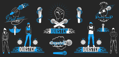 Set of vector logotypes for dub step music style. Collection log