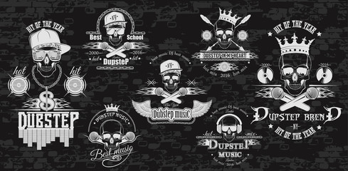 Vector set of logos for dubstep music style. Logo for t-shirts,