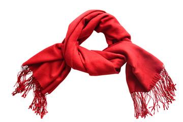 Red woolen scarf on white