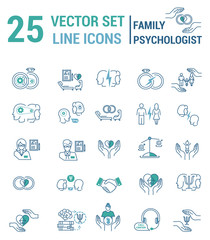 Set of icons in linear style on the subject of family psychologi