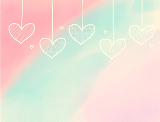 Cute heart hanging on watercolor pink , purple and blue pastel background