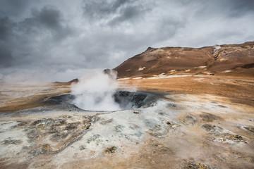 Mudpots in Hverir, Iceland.