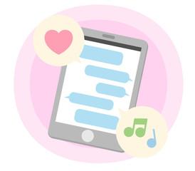 スマートフォン メッセージアプリ・SNSポジティブイメージ 白背景・ベクター