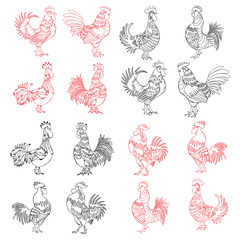 Hand drawing roosters isolated on white. 2017 Chinese Year of the Rooster zodiac emblems. Set of roosters, cocks, Chinese zodiac illustration collection. Logo, emblem, symbol designs bundle.