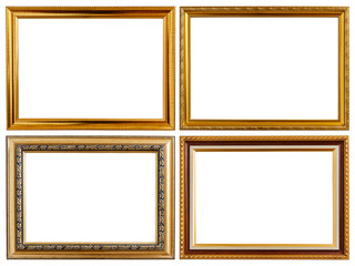 Set gold vintage wooden photo frame isolated on white. Saved wit