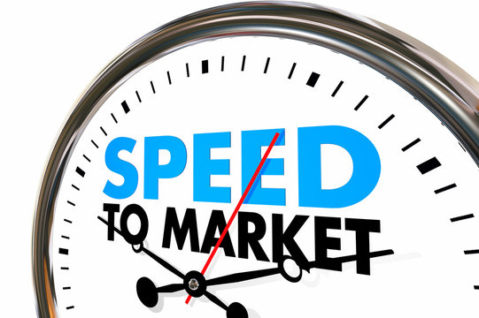 Speed to Market Fast Product Development Speedometer 3d Illustra