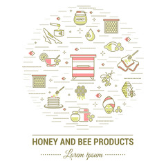 Flat line illustration of honey and bee products for card, advertising flyer , poster or website. Concept for catalog design, advertising cards and printed materials. Template for banner.