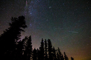 Meteor, satellites, airglow and light pollution during Perseid meteor shower