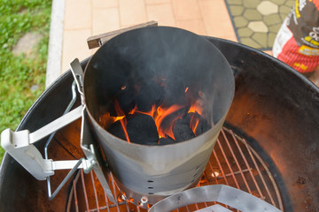preparing barbecue grill