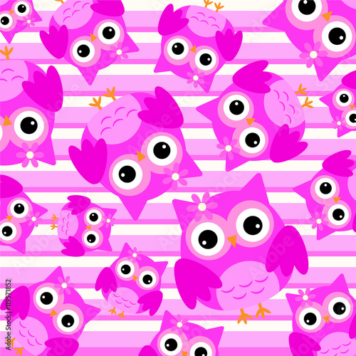 Background of cute pink owl on pink stripes background suitable for wallpaper