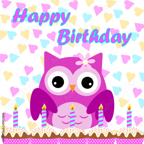 Birthday illustration with cute pink owl on colorful background birthday illustration with cute pink owl on colorful background suitable for birthday invitation card stopboris Gallery