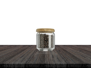 Coffee beans in glass bottle and white background on wood