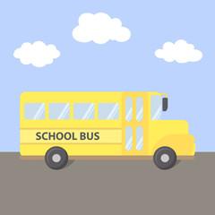 School Transportation Bus Yellow Vector Illustration Cartoon on Road