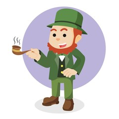 leprechaun holding cigar illustration design