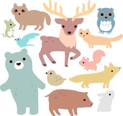 森の動物のイラストセット