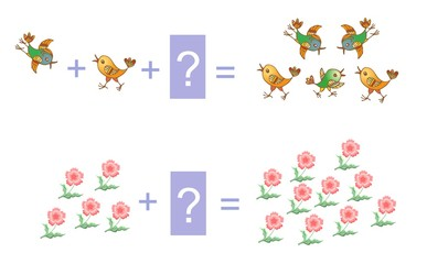 Educational game for children. Cartoon illustration of mathematical addition. Examples with flowers and birds.