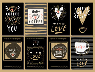 Set of trendy Coffee Love hand lettered modern calligraphic cards