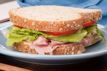 deli style rosemary ham sandwich