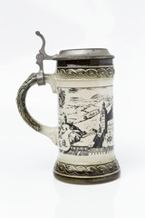 Traditional german beer mug on white background