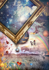Photo sur Plexiglas Imagination Starry country with enchanted landscape and rainbow