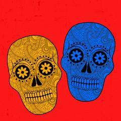 Illustration of floral skulls for Dia De Los Muertos