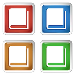ikona kwadratowy plastikowy przycisk wektor