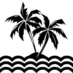 Tropical island and palm trees illustration