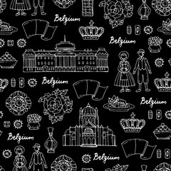 Vector seamless pattern with hand drawn symbols of Belgium on black color