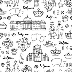 Vector seamless pattern with hand drawn symbols of Belgium on white color