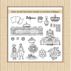 Vector set with hand drawn isolated doodles on the  theme of Belgium