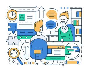 Job Interview - line design composition