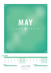 Calendar 2017 year grid design. Week starts monday. Holidays are not marked. Vector calendar for year 2017 Template. Set of 12 Months. May