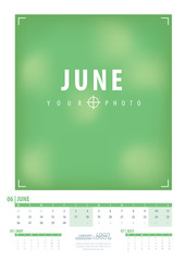 Calendar 2017 year grid design. Week starts monday. Holidays are not marked. Vector calendar for year 2017 Template. Set of 12 Months. June