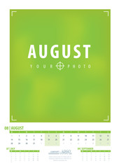 Calendar 2017 year grid design. Week starts monday. Holidays are not marked. Vector calendar for year 2017 Template. Set of 12 Months. August