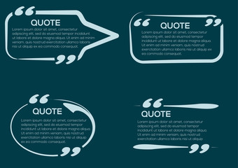 Set of vector Quote templates. Quote bubble. Empty template. Information, text. Quote form. In blue colors.