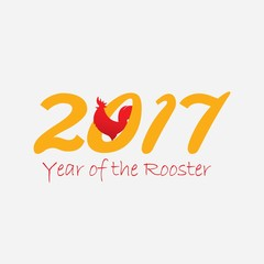 Year of the rooster design with number of year for Chinese new year celebration. Vector illustration with red rooster silhouette. Great for card and banner.