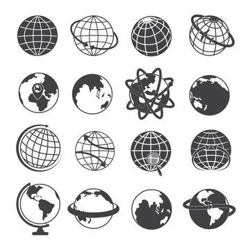 Earth Globe Icons Set on White Background