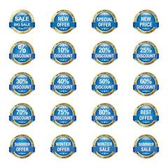 Blue Gold Sale Discount Buttons