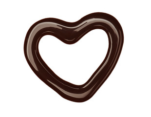 Heart drawing with liquid chocolate isolated on white