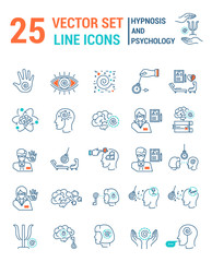 Set vector line icons in flat design with hypnosis and psychology elements for mobile concepts and web apps. Collection modern infographic logo and pictogram.