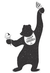 Funny bib Bear holding ice cream. Vector illustration with the inscription. Vector image of an bear for Your advertising, logo shirts symbol, logo, leaflet, sticker, flyers