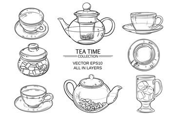 glass tea set sketch