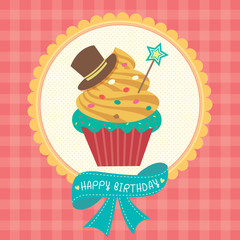 Cupcake fantasy design decoration with ribbon for happy birthday card.Illustration vector in red tartan background colors.